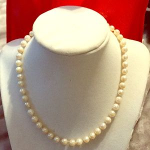 14K💖Yellow Gold & Sapphire Pearl Necklace 16 inch